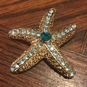 Starfish pendant with blue stones